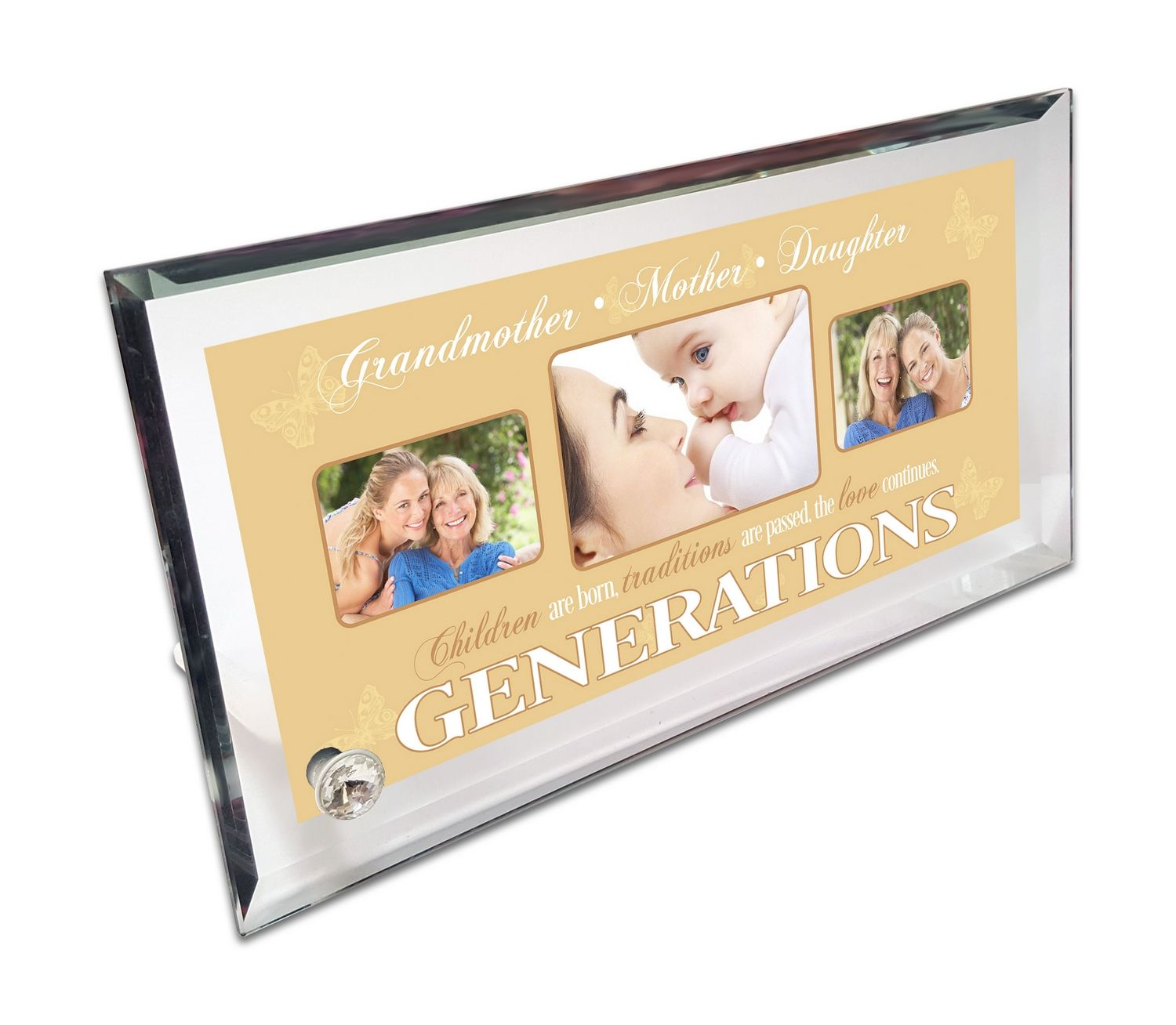 Personalised Generations Crystal Photo Frame - Three Images