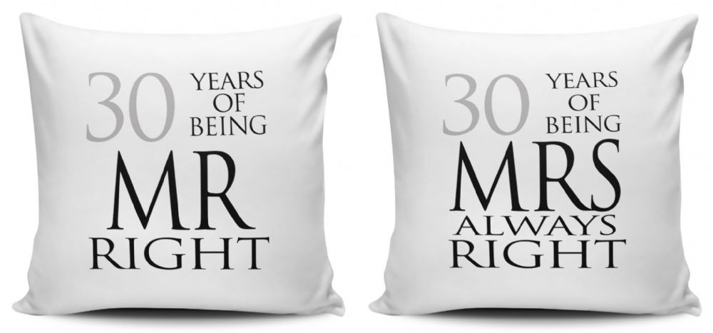 New Set of Mr Right /& Mrs Always Right White Cushion Covers 40cm x 40cm