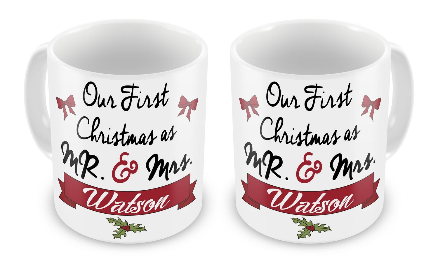 pair of personalised our first christmas as mr mrs novelty gift mugs