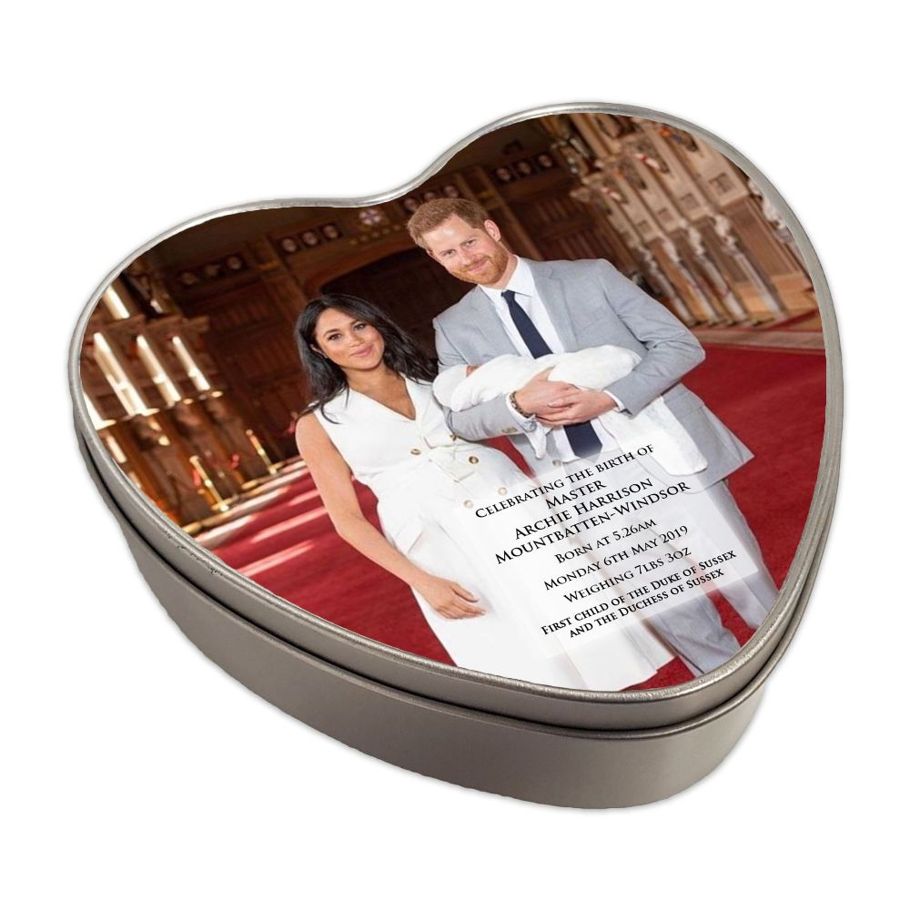 Royal Baby Master Archie Harrison Mountbatten-Windsor Heart Shaped Keepsake Tin